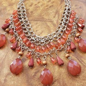 Apt. 9 Dark Pink Beaded Statement Necklace